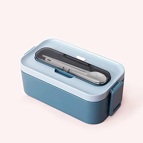 GXGX Bento Box Lunch Container lunchlåda mäta plåt kontorspersonal lunchlåda bestick läckage bevarande box mat sallad förvaringsbehållare, bärbar, familjeutflykter blå