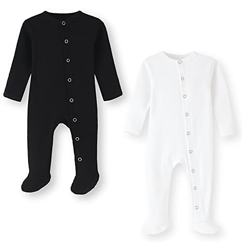 BINIDUCKLING Pijama para bebé con pie – Pijama unisex de algodón con manoplas – manga larga Baby Snap-Up peler para bebés de 0 a 12 meses, paquete de 2 unidades, S-negro & blanco, 6-9 meses