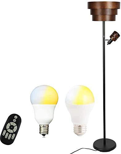 共同照明 フロアライト 2灯 ブラウン フロアスタンドライト 調光 調色 LED電球付き GT-DJ03B-5W9WT-2 リモコン対応 E26 E17 リモコン対応 間接照明 フロアランプ 北欧 おしゃれ アッパーライト スポットライト ルームライト 枕元ライト 雰囲気照明 読書灯 ベットライト 寝室ライト
