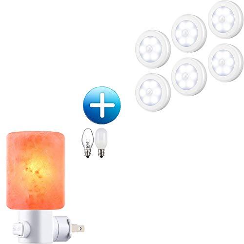 AMIR Motion Sensor Light and Salt Lamp Night Light Bundle