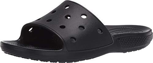 Crocs Men's and Women's Classic Slide Sandals | Slip On Water Shoes, Black, 10 Women/8 Men