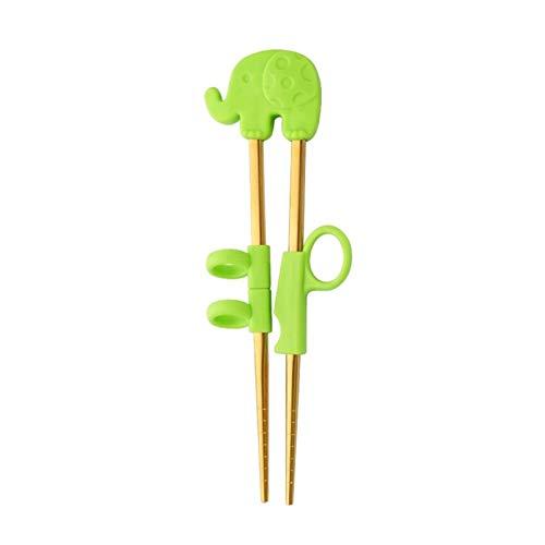 Srfghjs Plato para niños 1 par de Palillos de Acero Inoxidable para niños de Dibujos Animados Aprendizaje Chop Pegardos Capacitación Reutilizable Palillos Lindos Niños (Color : G Gold 1 Pair)