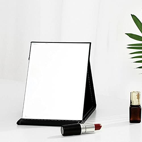 Espejo de Maquillaje ,Espejo de Viaje Plegable Compacto, Espejo de tocador con Soporte, Cuero de PU fácil de almacenar y Llevar