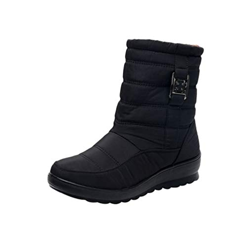 Cayuan Botas de Nieve Mujeres Antideslizante Impermeable Plano Botines con Forro Calentar Invierno Zapatos Al Aire Libre Ocio