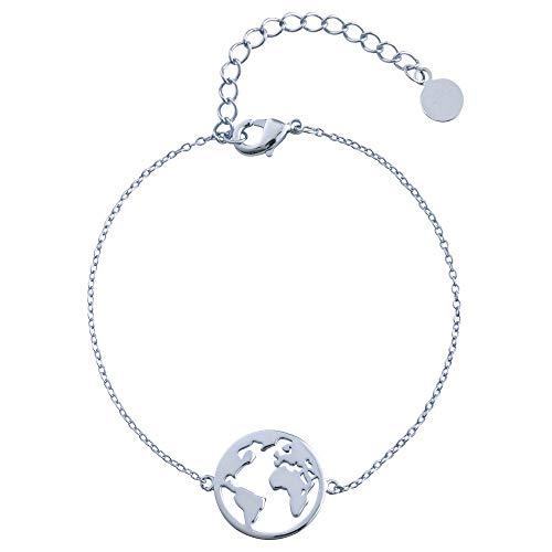 Heideman Armband Damen Weltkarte Worldmap aus Edelstahl Silber Gold oder Rosegold Farben poliert Armkette für Frauen mit Anhänger, Längen einstellbar silberfarben poliert hb25007-3