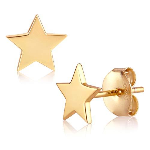 Brandlinger ® Atelier Ohrstecker Stern aus vergoldetem 925 Sterling Silber für Frauen, Mädchen und Kinder. Durchmesser der Gold Ohrringe 7 mm