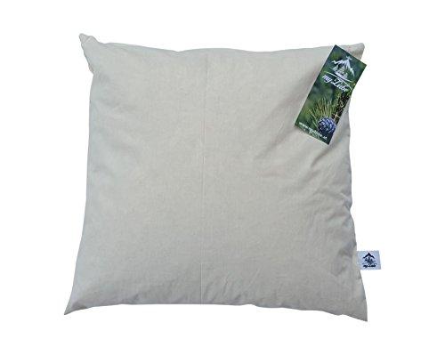 myZirbe Zirbenkissen Kopfkissen für einen gesunden, erholsamen, entspannten Schlaf gefüllt mit Zirbenflocken aus 100% Alpen Zirbenholz Größe: 40x40 cm, Größe:40 x 40 cm