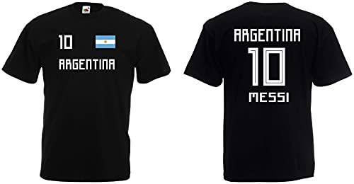 Argentinien Herren T-Shirt im Messi Trikot Look WM 2018 - schwarz-XXXL