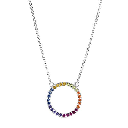 Dew Sterling Silver Open Circle Multi Cubic Zirconia 17.5' Necklace 9882MCZ