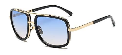 HAOMAO Gafas de Sol de Gran tamaño cuadradas con Degradado de aleación de Espejo para Hombres y Mujeres Doubleblue