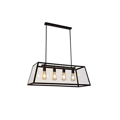 Senna Beleuchtung, SB-63914, Kronleuchter, quadratische Pendelleuchte mit 4 Leuchten, Pendelleuchte mit klarem Glasschirm, Hängeleuchte aus schwarzem Metall für das Arbeitszimmer im Restaurant