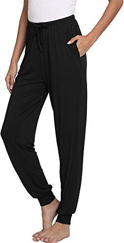 GYS Women's Bamboo Viscose Lounge Jogger Pants, Black, Large