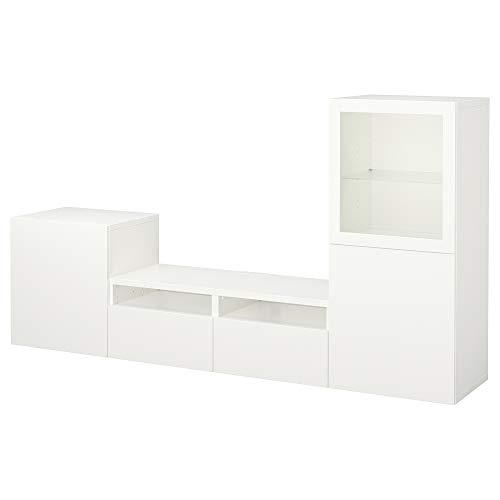 BESTÅ TV-opbergcombinatie/glazen deuren 240x40x128 cm Lappviken/Sindvik wit helder glas
