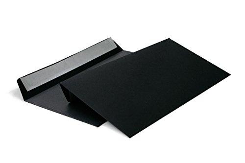 Briefumschläge DIN lang C6/5 114x229 mm schwarz 120 g/m² ohne Fenster haftklebend (Artikel: 214A) (100)