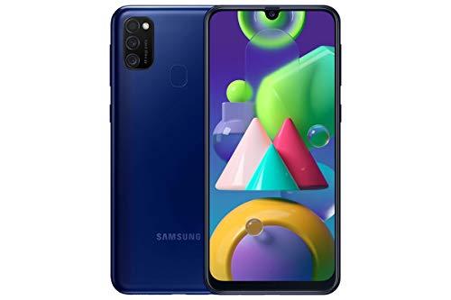 Smartphone Android Samsung Galaxy M21 sin Contrato, 3 cámaras, batería Grande de 6.000 mAh, Pantalla Super AMOLED de 6,4 Pulgadas, 64 GB / 4 GB de RAM, teléfono móvil Azul, versión Alemana
