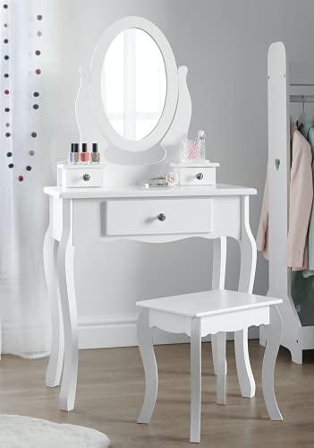Tocador con taburete y espejo de niñas   Tocadores de maquillaje para niños pequeños, ideal para...