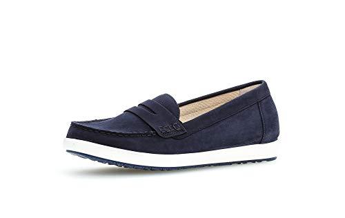 Gabor Damen Slipper, Frauen Mokassins,Moderate Mehrweite (G),Halbschuhe,College,Schuhe,Loafer,Businessschuhe,Lady,Blue (Weiss/Blue),39 EU / 6 UK