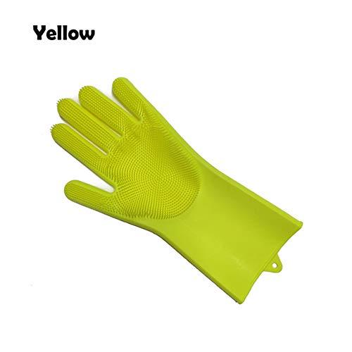 1 Reinigungshandschuhe für Silikonschalen und Reinigungsbürste Reinigungshandschuhe für Küchenräume Geschirrspülhandschuhe -Linksgelb, a2