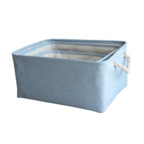 Honton Aufbewahrungskorb Aufbewahrungsboxen Kleider-Organizer Stoff-Aufbewahrungskorb mit Griff für Kleidung Spielzeug groß 40 x 30 x 20 cm mittel 35 x 25 x 18 cm klein 30 x 20 x 16 cm blau 3 Stück