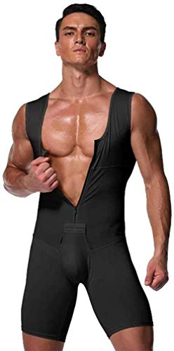 Hcxbb-15 Männer Öffnen Schrittgurt Full Body Shapewear- Weight Loss Belly Abnehmen Body-Trainings-ABS Pullunder One-Piece-Strampler Ganzkörper-Abdeckung (Farbe : Black, Size : Large)