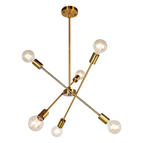 JHLBYL Moderno Lámparas de Araña de Oro 6 Luces E27 Iluminación Colgante...