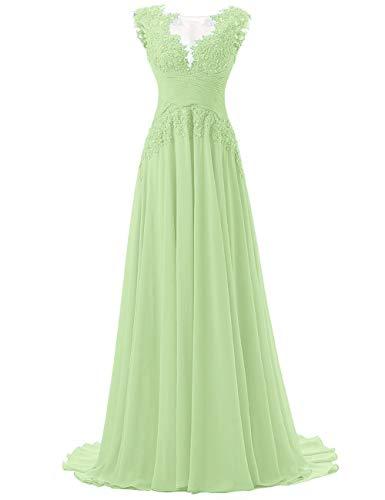 Abendkleider Lang A-Linie Ballkleider Chiffon Brautmutterkleider Spitzen Hochzeitskleid Empire Festkleider Salbei 46