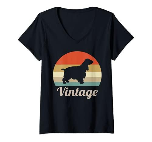 Mujer Vintage Clásico Retro Cocker Spaniel Inglés Perro Camiseta Cuello V