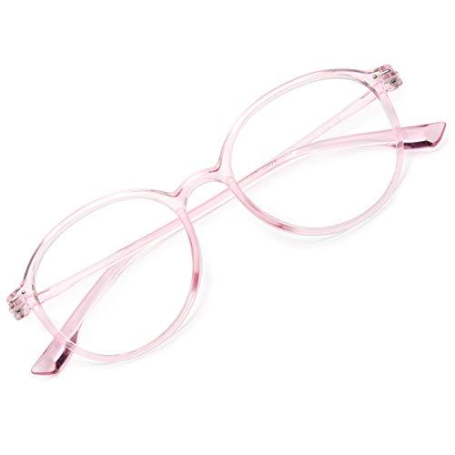Gaoye Classic Blue Light Blocking Glasses Women/Men,Computer TR90 Round Lightweight Frame Anti UV Lens - 0.0 Diopter (Transparent Pink)