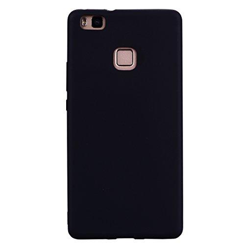 cuzz Custodia Huawei P9 Lite+{Film di Vetro temperato}Silicone TPU Cover Morbida Protettiva Custodia Ultra Sottile Leggero Cover-Nero