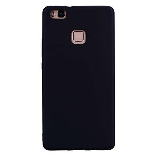 cuzz Funda para Huawei P9 Lite+{Protector de Pantalla de Vidrio Templado} Carcasa Silicona Suave Gel Rasguño y Resistente Teléfono Móvil Cover-Negro