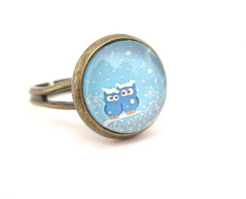 Winter Eulen Motiv Cabochon Ring Modeschmuck Bronze-Farben Eulenpaar