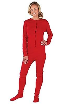 PajamaGram Drop Seat Pajamas Women - Butt Flap Pajamas Womens, Red, XS, 2-4 from PajamaGram
