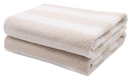 ZOLLNER 2 Toallas de baño de Rizo 100% algodón, 75x140 cm, a Rayas Beige