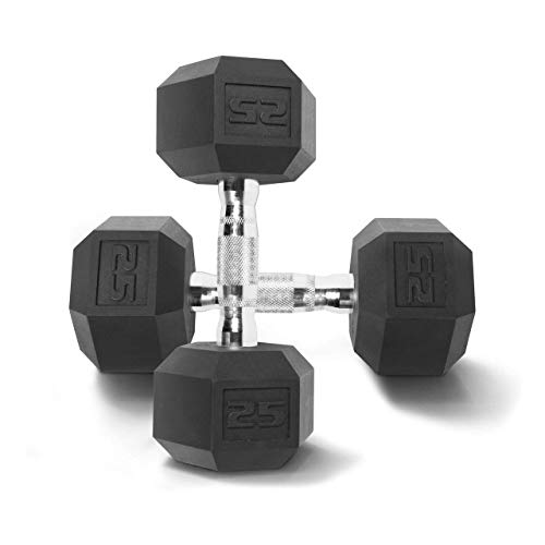 CAP Barbell Coated Hex Dumbbell Weights (Pair, 25 Pounds)