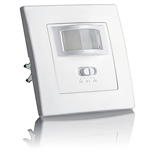 SEBSON® Bewegungsmelder Innen Unterputz, LED geeignet, Wand Montage, IR Sensor programmierbar, UP Dosen 60mm, Hohlraumdose 68mm, Reichweite 9m/160°, 3-Draht