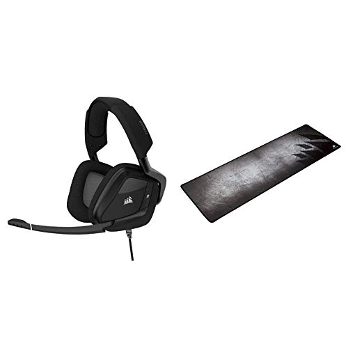 Corsair Void RGB Elite USB Premium Gaming Headset, Carbon & MM300 - Anti-Fray Cloth Gaming Mouse Pad - High-Performance Mouse Pad Optimized for Gaming Sensors - Multi Color