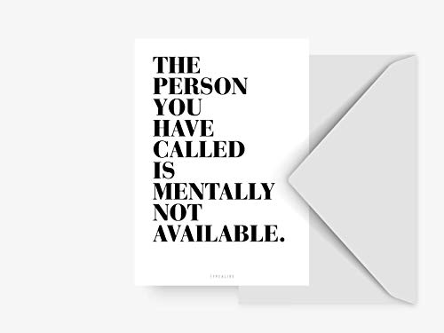 Postkarte - Not Available - von typealive - Schwarz-weiße Postkarte mit lustigem Spruch und Umschlag als Antwortkarte oder Dekoration