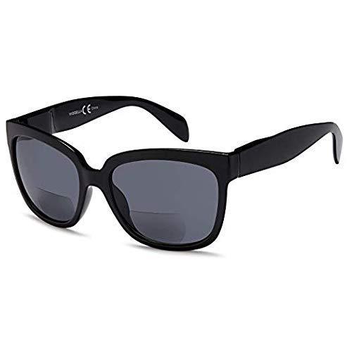 VVDQELLA Bifokale Sonnenbrille Lesebrille 1,5 Federscharnier 100% UV400-Schutz Brillen Übergroße Brillen Modestil für Männer und Frauen Schwarz