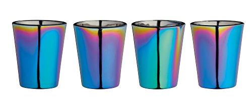 BarCraft, Bunt Schillernde Schnapsgläser mit Metallischem Regenbogeneffekt, 4-teiliges Set, Hochwertiges Glas, in Geschenkbox – 50 ml