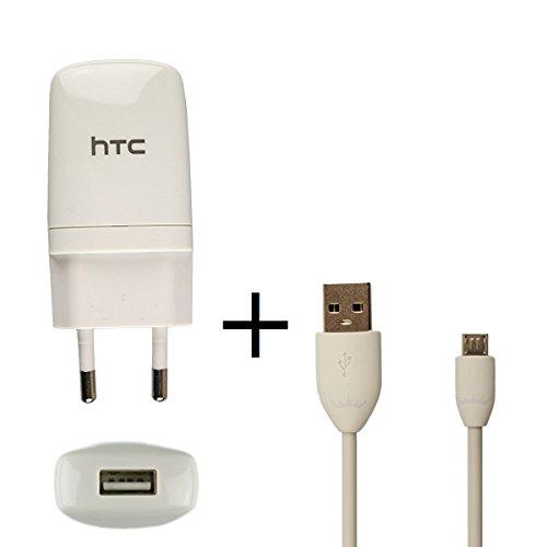 Original HTC Ladekabel in Weiss für Desire 500 Datenkabel Netzteil 1000 mAh Schnellladegerät Ladegerät Aufladekabel Travel Charger MicroUSB HTCLW1