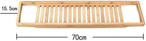 Weentop-hm Badkuip Caddy Bamboe Badkuip Caddy, Houten Badkamer Rack Badlade Bad Rack Badkuip Caddy Lezen Plank Over De Tub Opslagbak, Met Rails, Natuurlijke Bruin voor Thuis Spa Ervaring