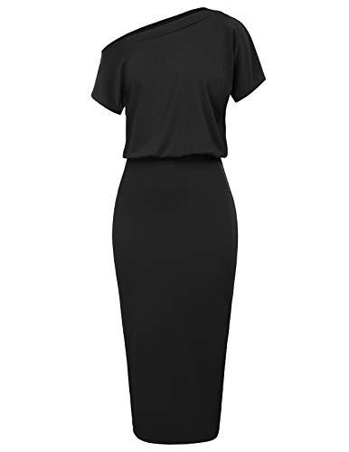 GRACE KARIN Women's Short Sleeve One Shoulder Party Pencil Dress Size L Black CL037-1