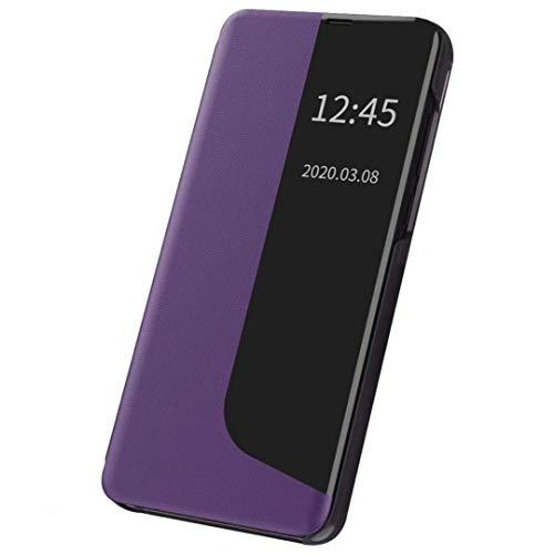 Jubyi - Funda para teléfono móvil Huawei P20 Smart Clear View con función atril, extrafina, resistente a los golpes morado Talla única