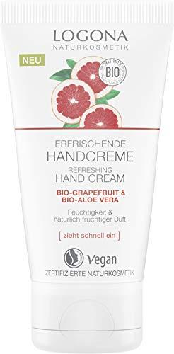LOGONA Naturkosmetik Erfrischende Handcreme Bio-Grapefruit & Bio-Aloe Vera, Vegan, Pflege für trockene Hände, 50ml