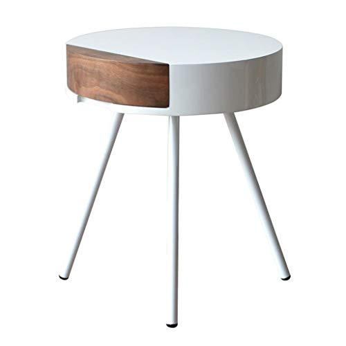 Tables Basses Table Basse Creative avec Tiroir Table D'appoint Canapé Rond Vert Table Basse Simple Table Basse (Color : Blanc, Size : 52 * 45 * 45cm)