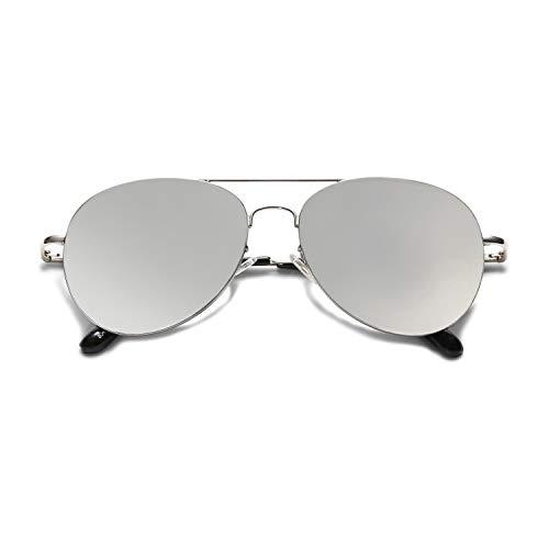 SOJOS Mode Flieger Metallrahmen Verspiegelt Linse Unisex Piloten Sonnenbrille mit Frühlings Scharnieren SJ1030 mit Silber Rahmen/Silber Linse