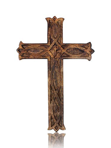 Wooden Religious Catholic Crucifix Cross Wall Hanging French Plaque Floral Carvings Living Room Home Decor Accent Church Chapel Altar Wall Art Decor Display Antiqued Rustic Finish 18 x 12 Inches