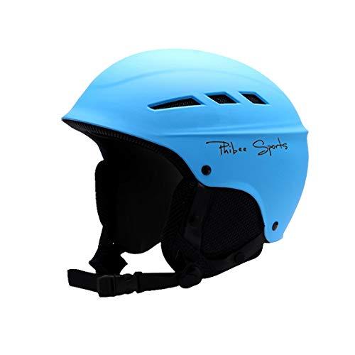 Tuzi Qiuge Helm Einzel- und Doppel Platte Skifahren Professionelle Schutzhelm 8 Air Vents PC Shell Einstellbare Buckle Eltern-Kind-Schutzhelm, Größe: L, Fit for 56-62cm (Azure). QiuGe
