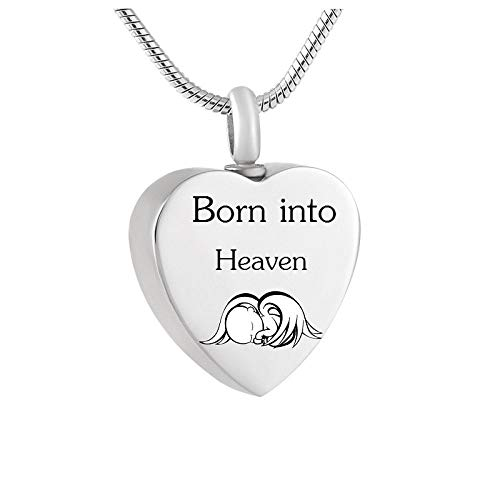 ZKZDSL Ashes Memorial Necklace,Loss Of Child/Baby Born Into Heaven Memorial Keepsake Urn Necklace For Ashes For Mom Miscarriage Sympathy Gift Cremation Urn Necklace