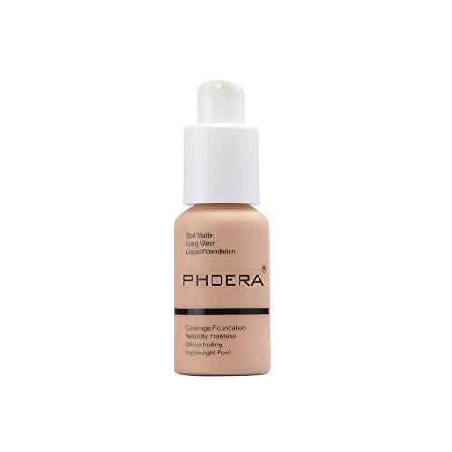 Fondotinta Liquid, Makeup Foundation Full Coverage Nuovo 30ml PHOERA 24HR Matte Oil Control Concealer Liquid Foundation (PHOERA103# Pesca al caldo)